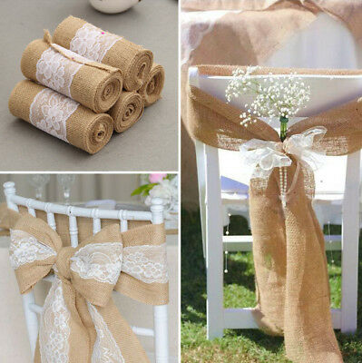 1-100 Hessian Lace Chair Cover Sashes Jute Sash FULLER BOW - 3 Patterns
