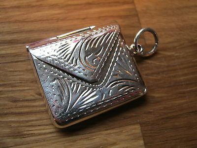 Pretty Hand Engraved Victorian Style Sterling Silver Envelope Stamp Case Holder