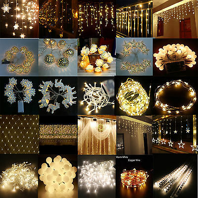 Warm White Christmas Wedding Xmas Party Indoor/Outdoor Fairy String Lights Lamps