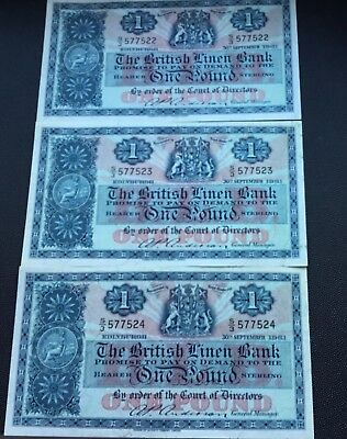 3 consecutive 1961 British linen Bank £ 1 notes.