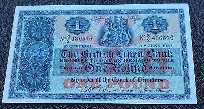 1951 British Linen Bank £1 note.