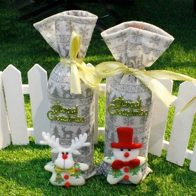 Details about Red Wine Bottle Bags Silver Deer/Snowman Christmas Decoration