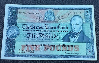 1962 British Linen Bank £5 note.