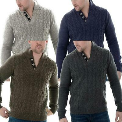19cace3c5fef4 Mens Threadbare Funnel neck Jumper Cable Knit Sweater Top Pullover Button  WRAY