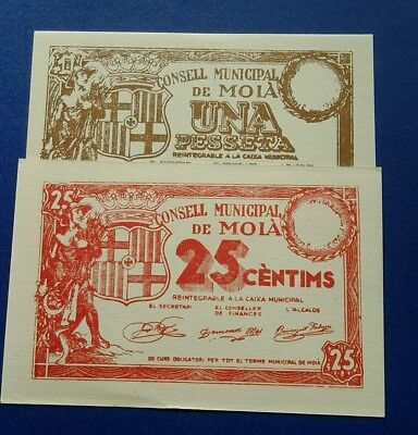 2 billetes MOIA 1 pts y 25 cts