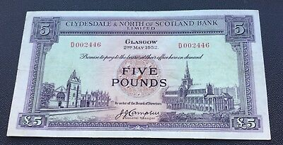 1952 Clydesdale & North of Scotland £5 note.