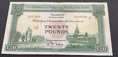 1962 Clydesdale & North of Scotland £20 note.