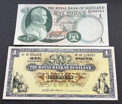 1965 & 67 Royal bank of Scotland £1 notes.