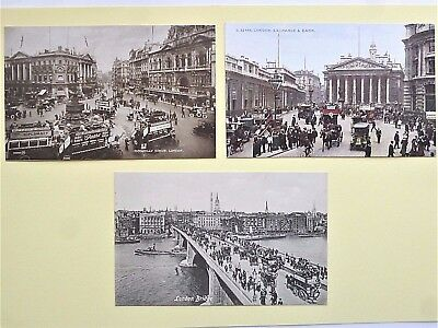 3 Old London Postcards - Piccadilly Circus, London Bridge And Exchange & Bank