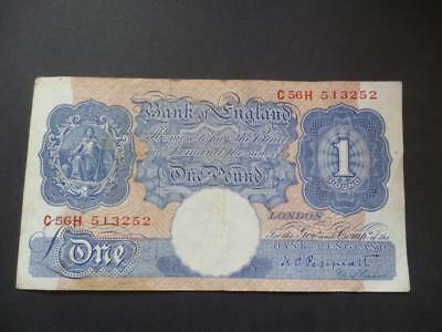 Dugglby B249 Peppiatt 1940 One Pound Note. In Well Used Condition Marks Etc