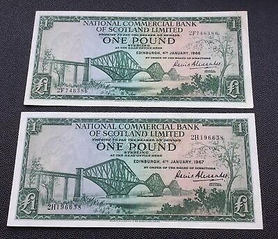 1966 & 67 National commercial bank of Scotland £1 notes