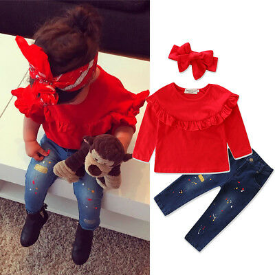 Floral Toddler Kids Baby Girl T-Shirt Tops+Denim Jeans Pants Clothes Outfits Set