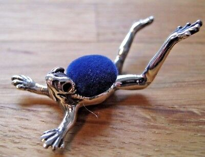 Unusual English Hallmarked Sterling Silver Frog Pin Cushion - Great Detail