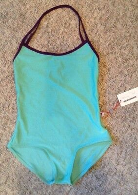 NWT $77  Yumiko Leotard Lena Style Front Lining Sea with Plum Trim Size Large