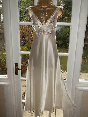 Vintage Style Presence Glossy Satin Embroidered Slip Nightie Gown UK16 Tall Girl