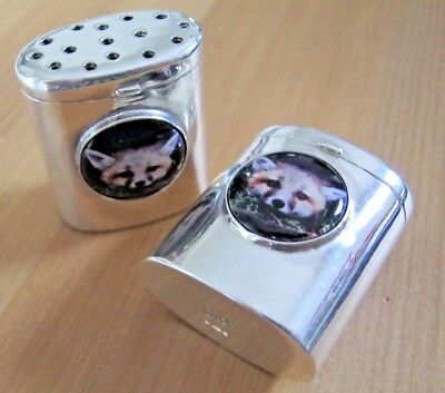Fox Hunting Related Quality Sterling Silver & Enamel Cruets Salt Pepper Shakers