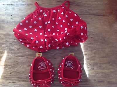 Children's Build A Bear Pink And Black Spotty Dress Knickers And Shoes Outfit