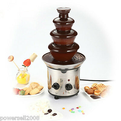 bMini Stainless Steel 4 tiers Home Chocolate Fountains Chocolate Fondue Fountain