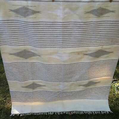 Ortega's Weaving Shop Hand Woven 100% Wool Rug Blanket VTG Chimayo New Mexico