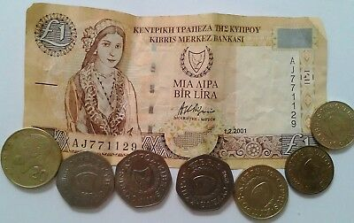 Cyprus money note coins