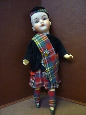 Antique Bisque Head Doll Dressed In Scottish National Dress Poss Walther+Sohn