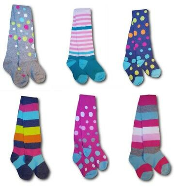 Baby Girls Children Kids Patterned Stripy Dots Cotton Rich Tights Size 2-10Years