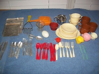Vintage Childrens Doll Dishes Set & Aluminum Cooky Pans Silverware