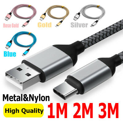 0.3/1M/2M/3M Cable Cord USB 3.1Type C Fast Charging Braided Data Sync Charger hi