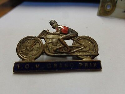 True Vintage / Antique Enamel Badge Isle Of Man Grand Prix Motorcycle Racing Iom