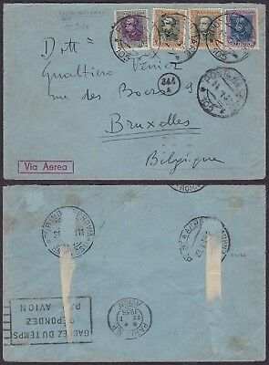 Eritrea 1936 - Field post Air mail cover to Brussels Belgium