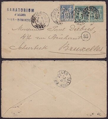 French Algeria 1902 - Cover Alger to Brussels Belgium