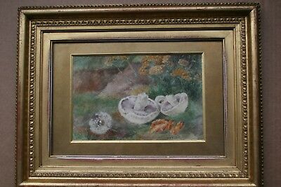 19th.CENTURY  PAINTING STILL LIFE MUSHROOMS AND FLOWERS ON A MOSSY BANK SIGNED