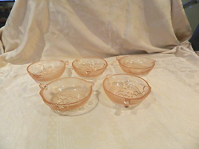 Pink Depression Glass Smooth/frosted 5 Bowls