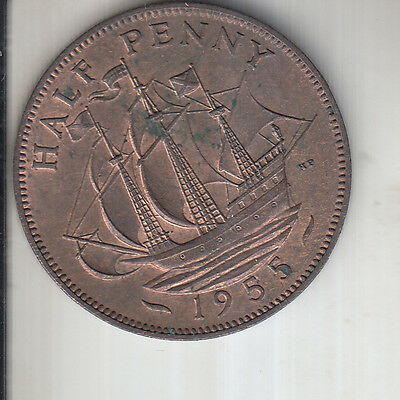 1955 ELIZABETH II, HALF PENNY 1/2d, NR UNC CONDITION WITH SOME LUSTER-i