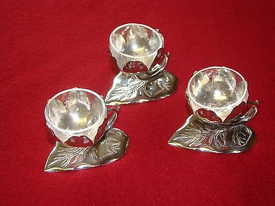 MSCH Set Of 3 Silver Plated Salts With Clear Glass Liners Salt