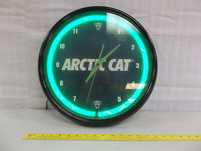 Arctic Cat Clock with neon around outside vintage collectible clock works, nice