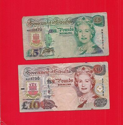 2 USED GIBRALTAR, £10 Pound, and £5 notes  Queen Elizabeth II  LOOK