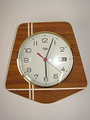 Antique Wall Clock Odo In Formica With Dater / Pendulum Years 60 / 70