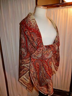LOVELY Antique 1800's Wool Paisley Shawl Orange Red Ecru Colors Marked Seville