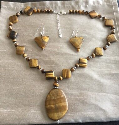 Tigers Eye Silver Necklace And Earrings