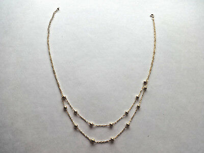 """14K Yellow Gold Double Chain Bead Necklace 14KT ITALY MILOR 3.7grams  19"""""""