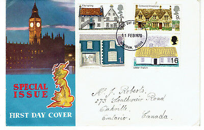 1970 U.K. Buildings/Houses Set First Day Cover FDC to Canada Unusual Cachet