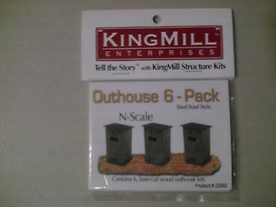 King Mill Enterprises  Outhouse  6 Pack Shed Roof Style  N Scale Laser Wood Kit