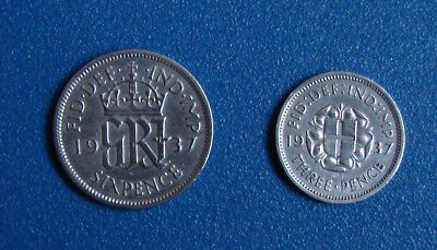 3 pence+6 pence -coins 1937 United Kingdom King George VI ( Composition Silver )