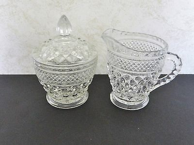 Wexford Covered Sugar Bowl and Creamer Diamond Pattern Anchor Hocking Crystal