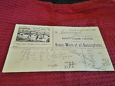 Jacob Fisher, Lyons, N.y. Pottery Stoneware Bill Head Receipt 1899