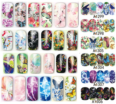 FARFALLE e FIORI DECALCOMANIE Adesivi unghie water decals Stickers BUTTERFLIES