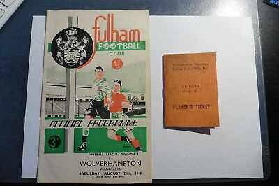 1949 Fulham Wolves + Billy Crook Replica Players Ticket Division 1 20/08/49 1950