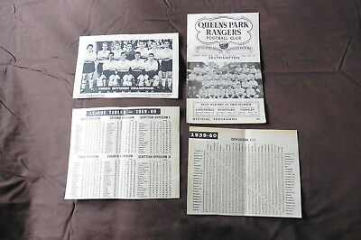 1960 Southampton Signed 5 v QPR-Terry Paine Derek Reeves +others 26/03/60 1959