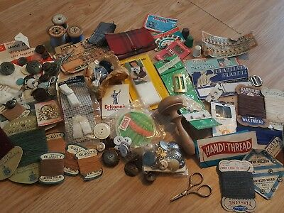 Job lot of vintage sewing items hooks tartan  scissors thimbles buttons odds
